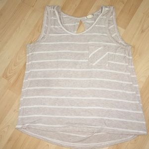 Color Story Ribbed Striped Open Back Tank Top